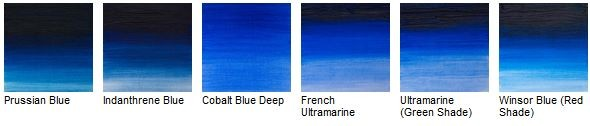 different blue colour swatches